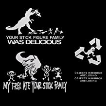 ACBungji Car Rearview Mirror Window Body Fuel Tank Cap Funny Dinosaur Jurassic Decal Sticker Scratch Cover with TREX (White) 4 Types in 1 (TREX (White))