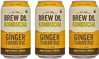 Brew Dr Ginger Turmeric Raw Organic Kombucha, 12 Fl Oz Can, (3 Pack)
