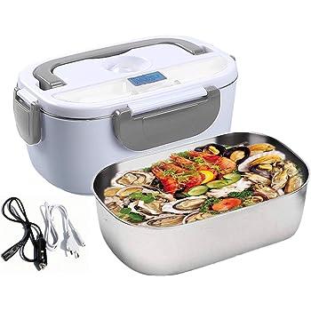 Nifogo Boîte à Lunch électrique Lunch Box Électrique 3 en 1 pour la Voiture Un camionet et Bureau - Gamelle Chauffante Acier Inoxidable 12V 24V et 220v (Gris)