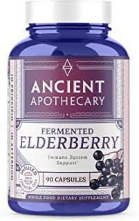 Ancient Apothecary Fermented Elderberry Supplement, 90 Capsules — Infused with Organic Essential Oils, Ashwagandha Extract and Digestive Bitters