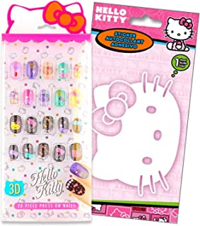 Hello Kitty Decorative 3D Press-On Nails Play Set with Large Hello Sticker