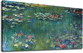 yearainn Canvas Wall Art Water Lilies by Claude Monet Panoramic Scenery Painting - Long Green Garden Canvas Artwork Reproductions Contemporary Nature Picture for Home Office Wall Decor 20