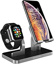 BENTOBEN Cell Phone Stand Compatible with Apple Watch iPhone Android Phone iPad Tablet, Charging Dock Station Holder for iWatch Series 4/3/2/1 iPhone XS Max XS XR X 8 7 6S 6 Plus SE 5S 5, Space Gray