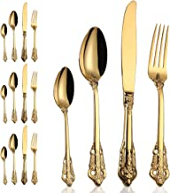 16-Piece Gold Flatware Silverware Set,18/10 Heavy Duty Stainless Steel Flatware Service for 4,Cutlery Include Knife/Fork/Spoon/Coffee Spoon,Mirror Polished, Dishwasher Safety