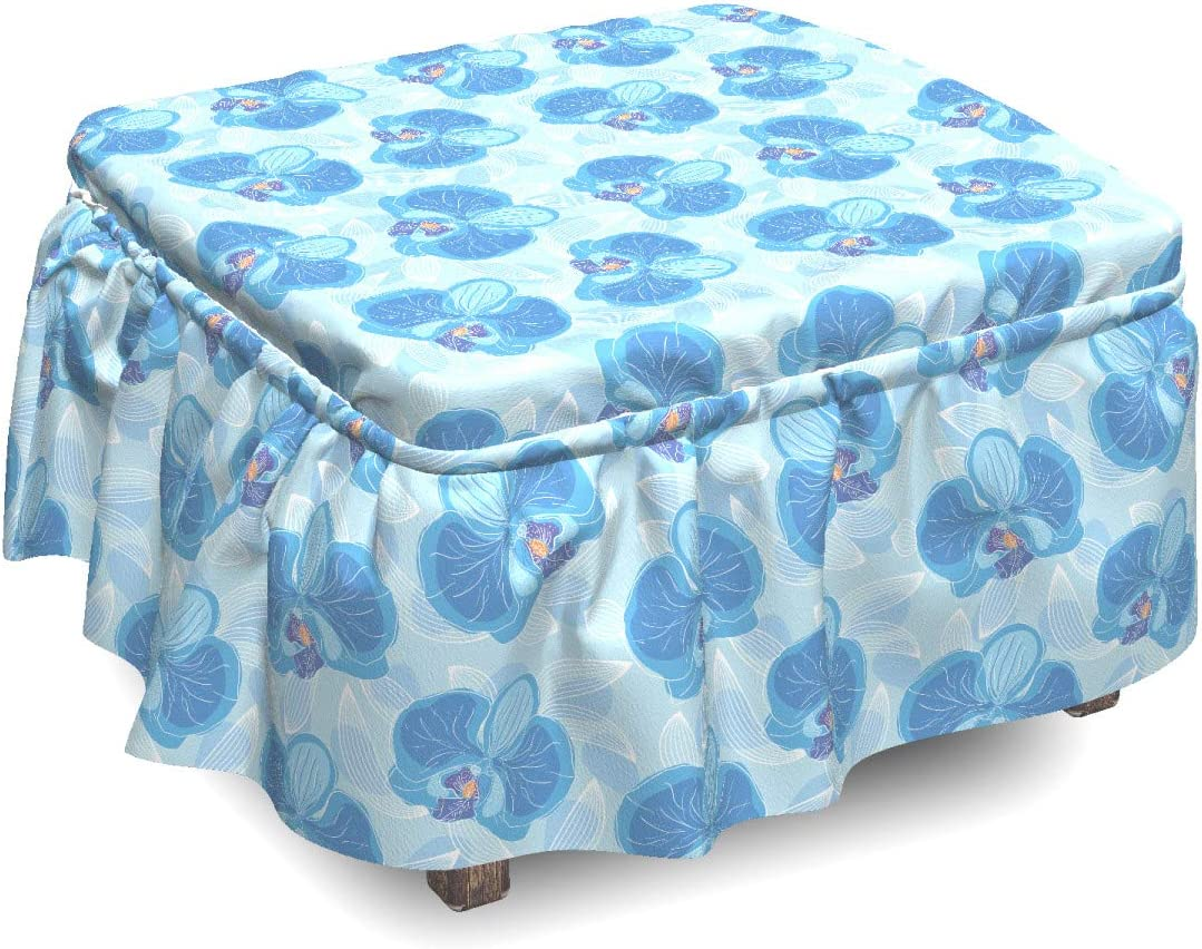 Ambesonne Flower Max 72% OFF Ottoman Cover Soft Pie Blossoms Blue Max 82% OFF 2 Orchid
