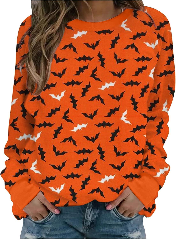 Vedolay Halloween Costumes for Women,Women's Casual Sweatshirts Halloween Print Long Sleeve Sweatshirt Tunic Pullover