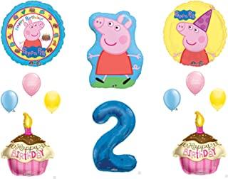 2nd Second PEPPA PIG XL Happy Birthday PARTY Balloons Decorations Supplies
