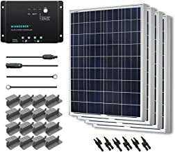 Renogy 400 Watt 12 Volt Polycrystalline Solar Starter Kit with Wanderer 30A PWM Charge Controller /Mounting Z Brackets/Adaptor Cables/Tray Cable