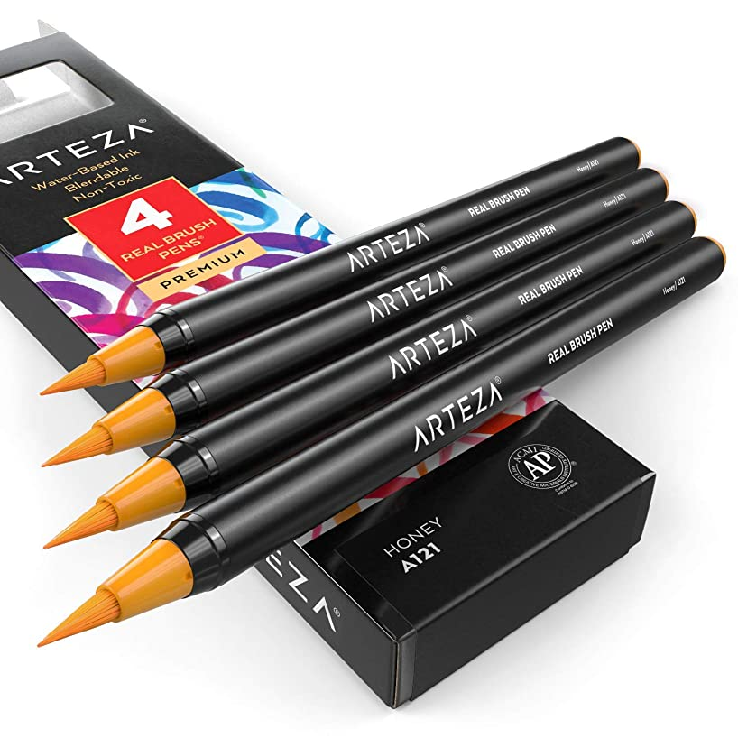 ARTEZA Real Brush Pens (A121 Honey) Pack of 4, for Watercolor Painting with Flexible Nylon Brush Tips, Paint Markers for Coloring, Calligraphy and Drawing