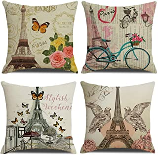 QIQIANY Set of 4 Eiffel Tower Pillow Covers 18x18 Inches Square Linen, Home Decor Paris Cushion Cover Pillowcases for Sofa, Bedroom, Chair