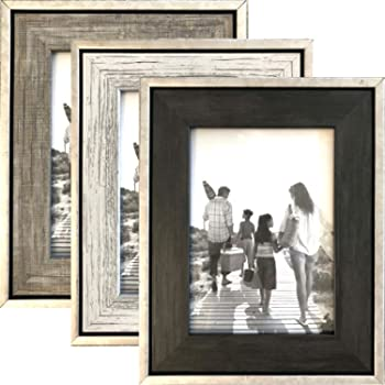 4x6 Rustic Picture Frames (3-Pack) - Distressed Farmhouse Industrial Table Frame - Ready to Hang or Stand - Built-in Easel - Silver Galvanized Metal Look with Wood Insert