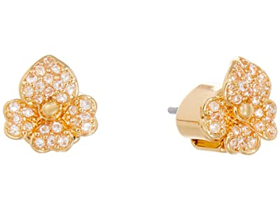 Kate Spade New York Precious Pansy Pave Stud Earrings (Clear/Gold) Earring