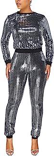 ملابس نسائية مثيرة لامعة من قطعتين بأكمام طويلة ورقبة معدنية وسروال ملائم لشكل الجسم من الترتر، بذلة نادي