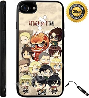 Custom iPhone 7 Case (Attack on Titan Chibi all character) Edge-to-Edge Rubber Black Cover with Shock and Scratch Protection | Lightweight, Ultra-Slim | Includes Stylus Pen by Innosub