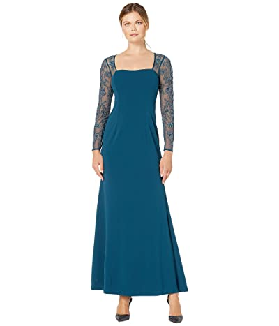 Adrianna Papell Crepe Mermaid Gown with Beaded Long Sleeves (Midnight Teal) Women