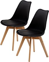 La Bella Replica Eames PU Padded Dining Chair - Black X2