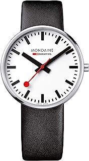 Mondaine Men's 'SBB' Swiss Quartz Stainless Steel and Leather Casual Watch, Color Black (Model: MSX.4211B.LB)