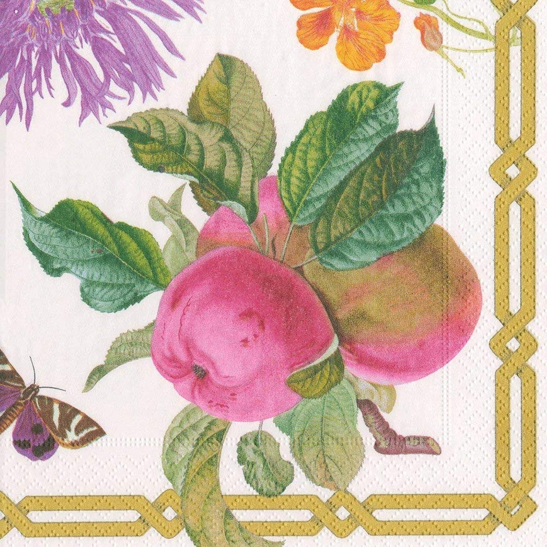 Entertaining with Caspari 13570C Decoupage GardenIvory Napkin Cocktail, Multicolor