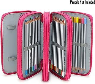 BTSKY Handy Wareable Oxford Pencil Bag 72 Slots Pencil Organizer Portable Watercolor Pencil Wrap Case (Pink) by BTSKY