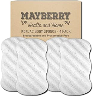 Konjac Body Sponge (4 Pack) Individually Wrapped Pure (White) Konjac Sponges Offer a Gentle Cleansing Experience for Softer More Radiant Skin