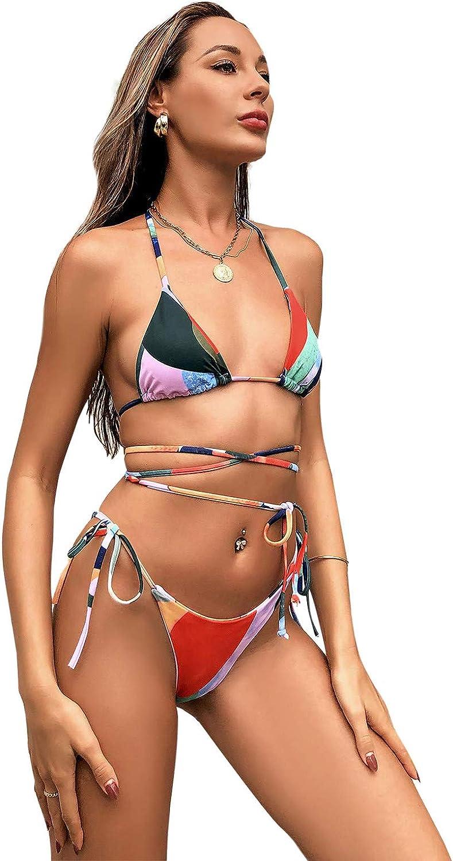GTYX Bikini Sets Tie Side Three Piece Swimwear for Women Tankini Swimsuits with Cover Up Beach Skirt