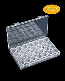 3PACK DEEBF 28-Grids Diamond Painting Box,Storage Box for Diamond Painting, Dividers Box Organizer,Ornament Box