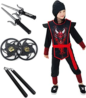 Night Ninja Costume for Boys Kids Black Red Halloween Samurai Ninja Suit Outfit 4-6 6-8