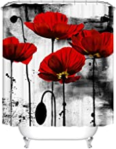 Fangkun Shower Curtain Bathroom Decor Set - Red Flower Ink Painting Art Design Curtains - Polyester Fabric Waterproof Curtains - 12pcs Shower Hooks - 72 x 72 inches
