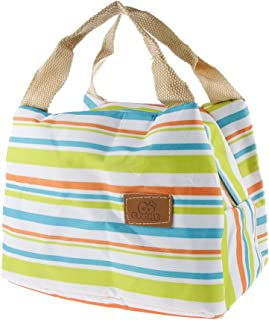 Magideal Canvas Thermal Insulated Stripe Bento Pouch Tote Bag, 22x15x16cm (Green)