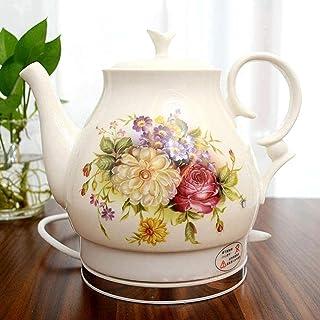 lkpqdwqz Bouilloire électrique rétro en céramique sans fil, 18 litres, pour eau, thé, café, soupe, avoine, fond amovible, ...