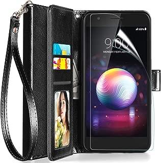 Axiay LG K30 Case, LG K10 2018 Case Wallet,LG Harmony 2/Premier Pro LTE/Phoenix Plus/Xpression Plus Case w Screen Protector/Wrist Strap Kickstand Card Slots Flip Folio Shockproof Leather Cover,Black