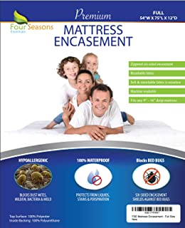Full Size Mattress Protector Bedbug Waterproof Zippered Encasement Hypoallergenic Premium Quality Cover Protects Against Dust Mites Allergens