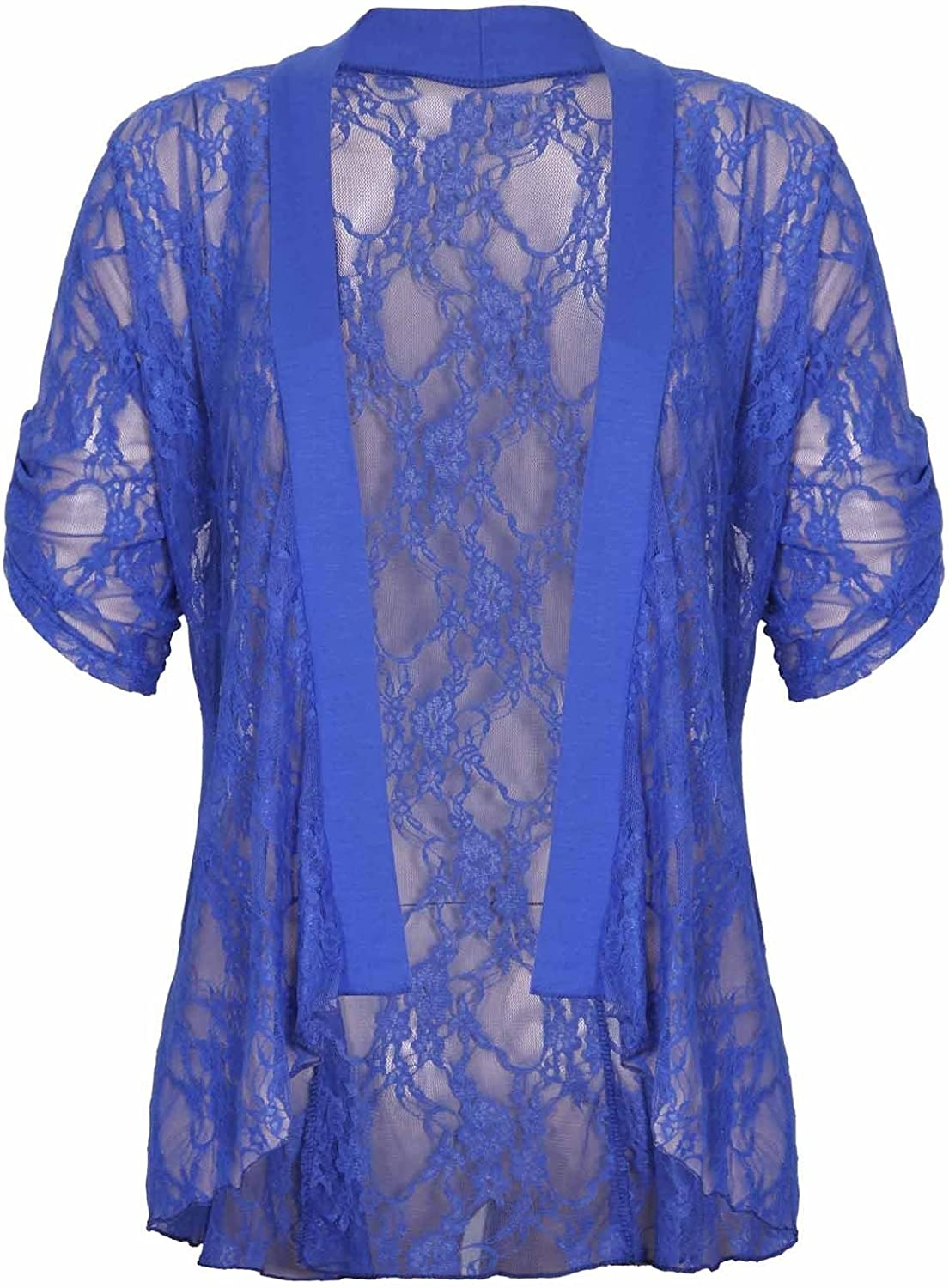 Forever Womens Plus Size Floral Lace Button Sleeves Cardigan Top