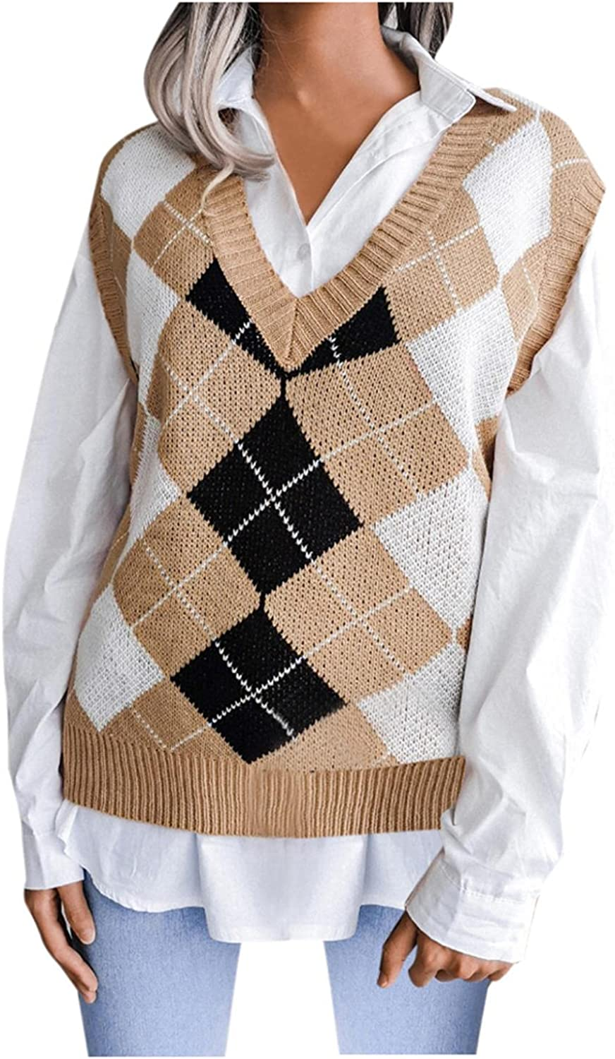 Sweater Vest Women Oversized Knitted V Neck Plaid Sweaters Sleeveless Knitwear Tank Tops Casual Lightweight Pullover