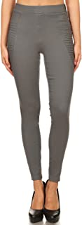 Jvini Women's High Waisted Pleated Pull-On Stretchy Skinny Jeggings with Pockets