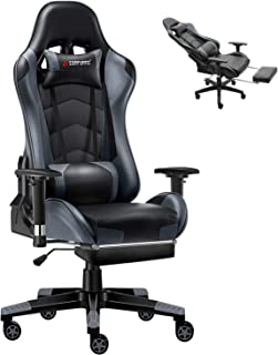 JL Comfurni Gaming Chair Executive Office Chair Reclining High-Back Ergonomic PU Leather Desk Chair Racing Swivel Computer Chair with Footrest Adjustable Headrest and Lumbar Support for Adults Grey