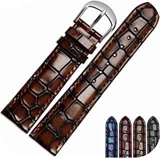 watchbands Grains Fashion Genuine Leather Men's watchband Clear Crocodile Texture Strap Bracelet Wrist Watch Band 18mm 20mm 22mm-brown-20mm-rose Gold Clasp