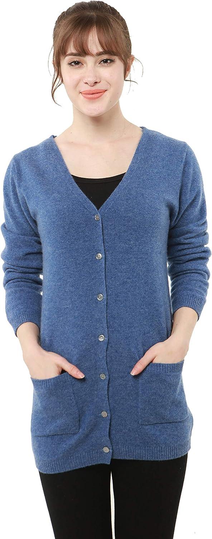 PHELEAD Women's 100% Merino Wool Long Cardigan Sweaters for Women Lightweight Winter V-Neck Long Sleeve Knitted Sweater