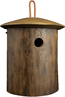 BYER OF MAINE Natural Chickadee Bird Home, Mango Wood, Painted, Sized Specifically for Small Cavity Nesters, Natural Wood Finish, 8.25