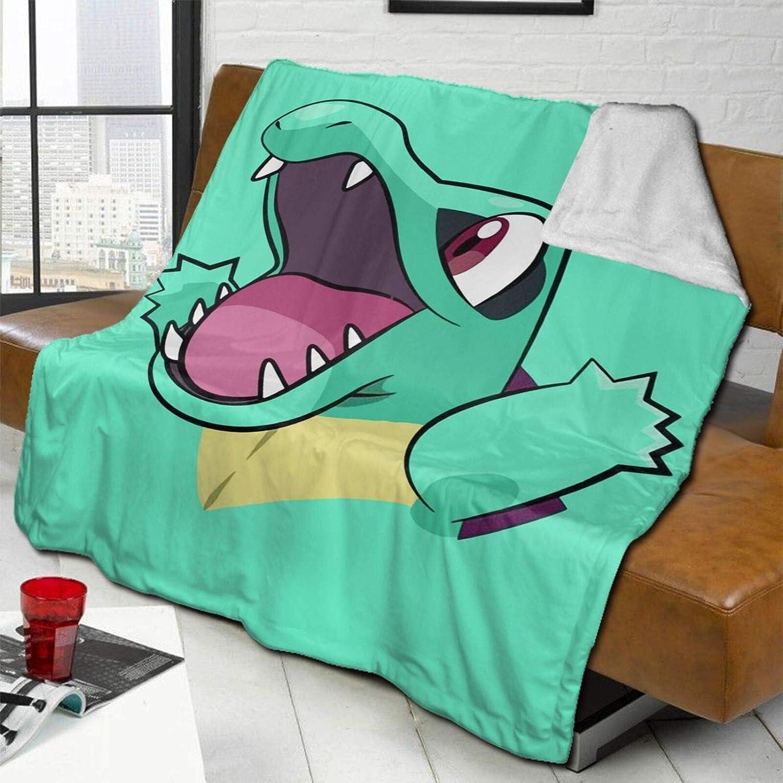 送料無料 流行 Fluffy Blanket Happy Totodile Bed Blankets Soft Reversible Super
