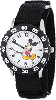Disney Kids' W000001 Time Teacher Mickey Mouse Stainless Steel Watch With Black Nylon Band