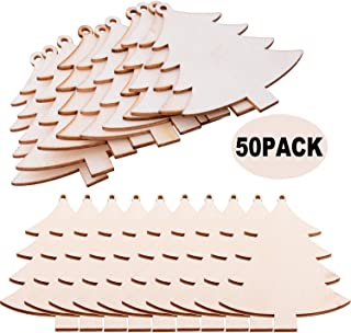 Pack of 50 Wooden Crafts to Paint Christmas Tree Hanging Ornaments Unfinished Wood Cutouts Christmas Decoration DIY Crafts (Wooden Christmas Tree Cutouts)