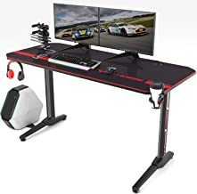 Vitesse 55 inch Gaming Desk Racing Style Computer Desk with Free Mouse pad, T-Shaped Professional Gamer Game Station with USB Gaming Handle Rack, Cup Holder & Headphone Hook (Black)