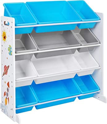 """SONGMICS Kid's Toy Storage Unit with 12 Removable Bins, for Playroom, Children's Room, 33.9"""", Blue and Gray"""