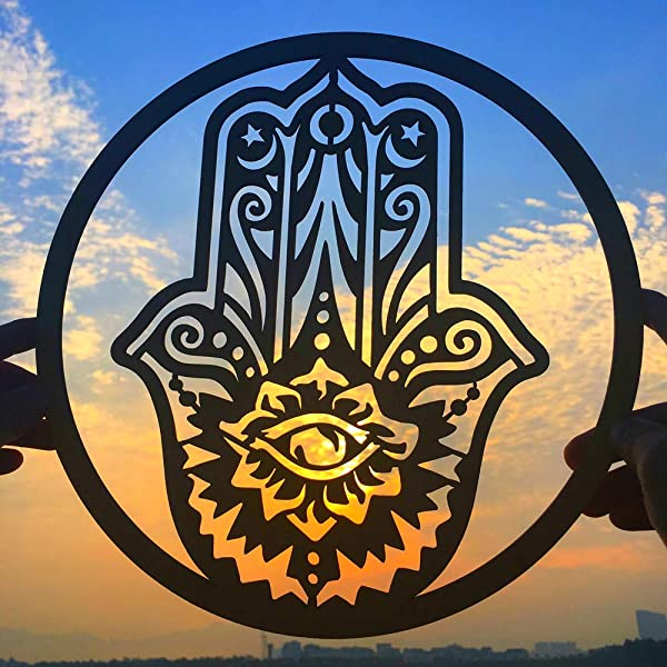 11 5 Hand Of Fatima Wooden Wall Art Wall Sculpture For Home Office Yoga Studio Wooden Color 11 5 Inch