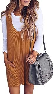 Saodimallsu Womens Racerback Tank Sweater Dresses Fall Ribbed Knit Loose V Neck Dress Pockets