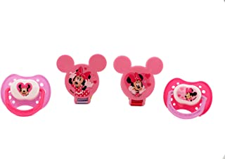 Disney Cudlie Minnie Mouse Baby Girl 4 Pack of 2 Pacifiers & 2 Clips with Hearts for Min Print