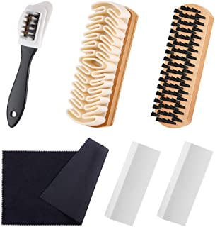 6 Pieces Suede and Nubuck Brushes Kit Includes 1 Bristle Brush, 1 Crepe Suede Brush, 1 4-Way Shoe Brush, 2 Suede Erasers a...