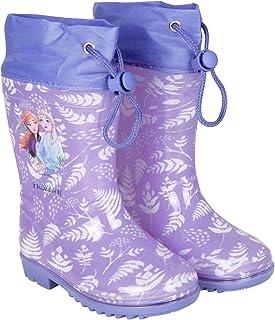 Botas de Agua Niña Disney Frozen - Botines Impermeables Infantiles Lila - Estampado Elsa y Detalles Blancos - Suela Antide...