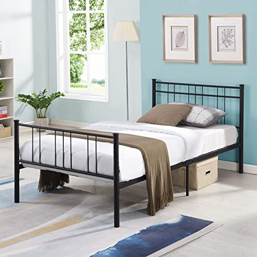 lowest Bed Frame,Twin Bed Frame with headboard and Footboard,Slat Support Underbed discount Storage Easy sale Quick Lock Assembly,No Box Spring Needed online